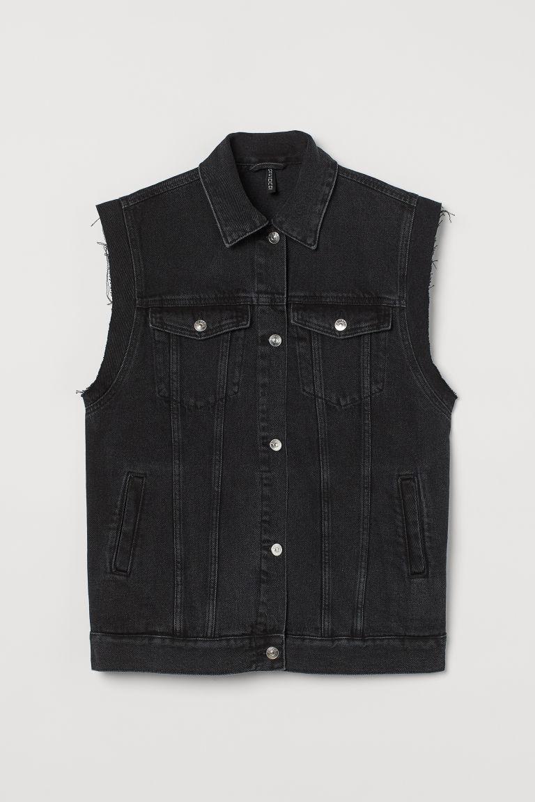 H & M - 丹寧背心 - 黑色