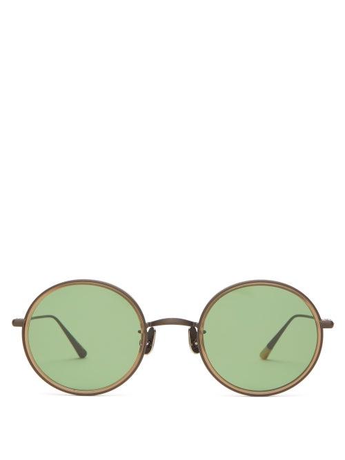 817 Blanc Lnt - Round Titanium & Acetate Sunglasses - Mens - Brown