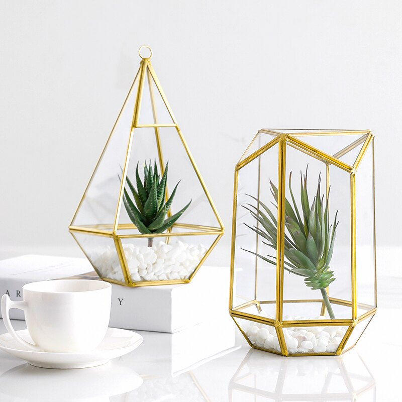 北歐裝飾幾何玻璃罩花房擺件客廳陳列家居服裝店咖啡廳工藝品YBJ2 愛尚優品
