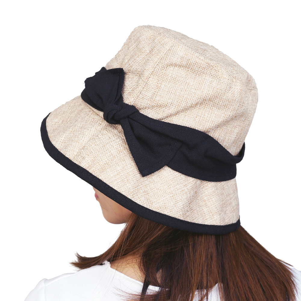 日本AUBE 配色蝴蝶結可折疊抗UV遮陽帽(米杏色)