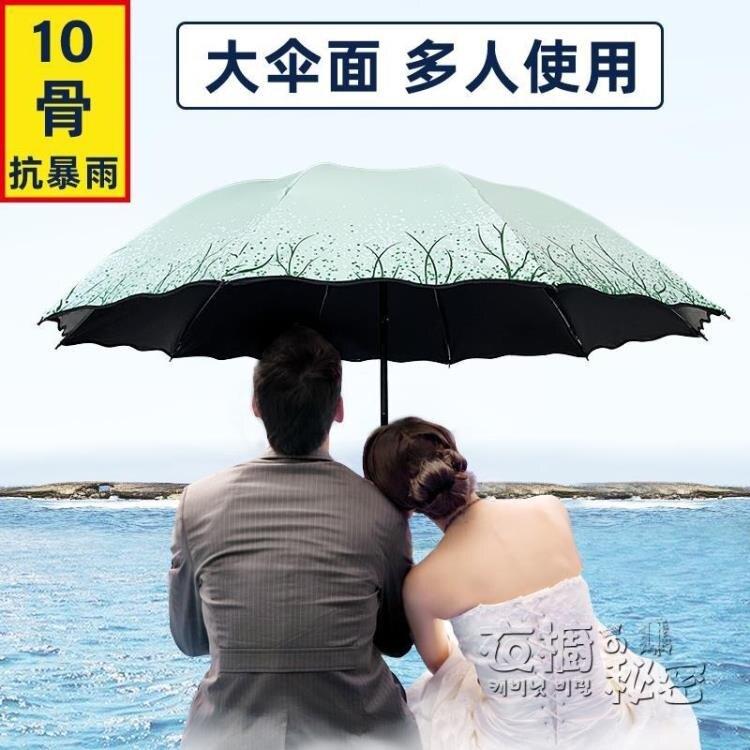 晴雨兩用雨傘女超大黑膠防曬防紫外線太陽傘摺疊特大號雙人遮陽傘