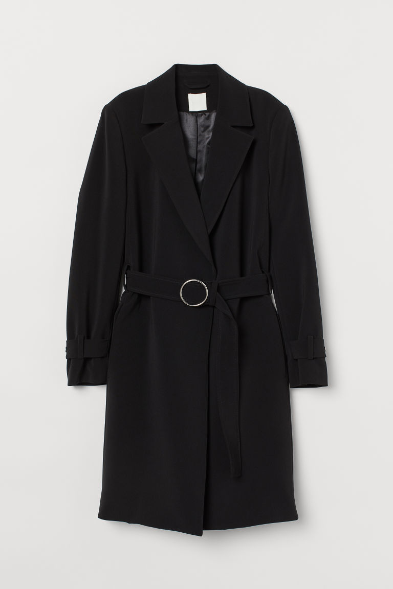 H & M - 腰帶大衣 - 黑色