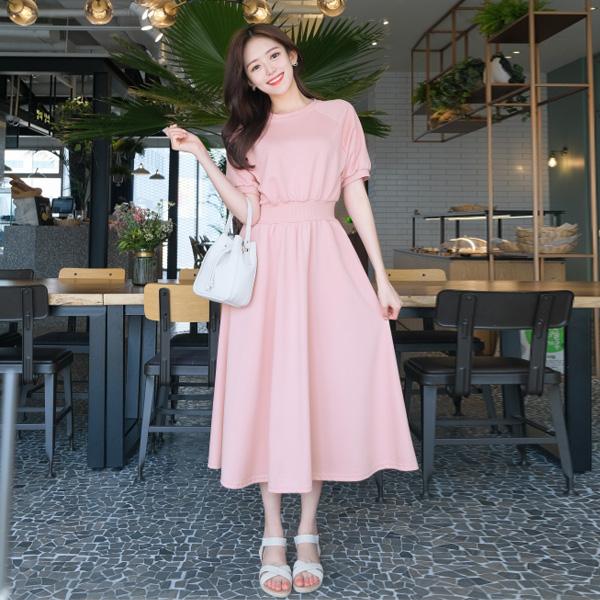 韓國製.甜美簡約舒適寬鬆公主袖長版洋裝.白鳥麗子