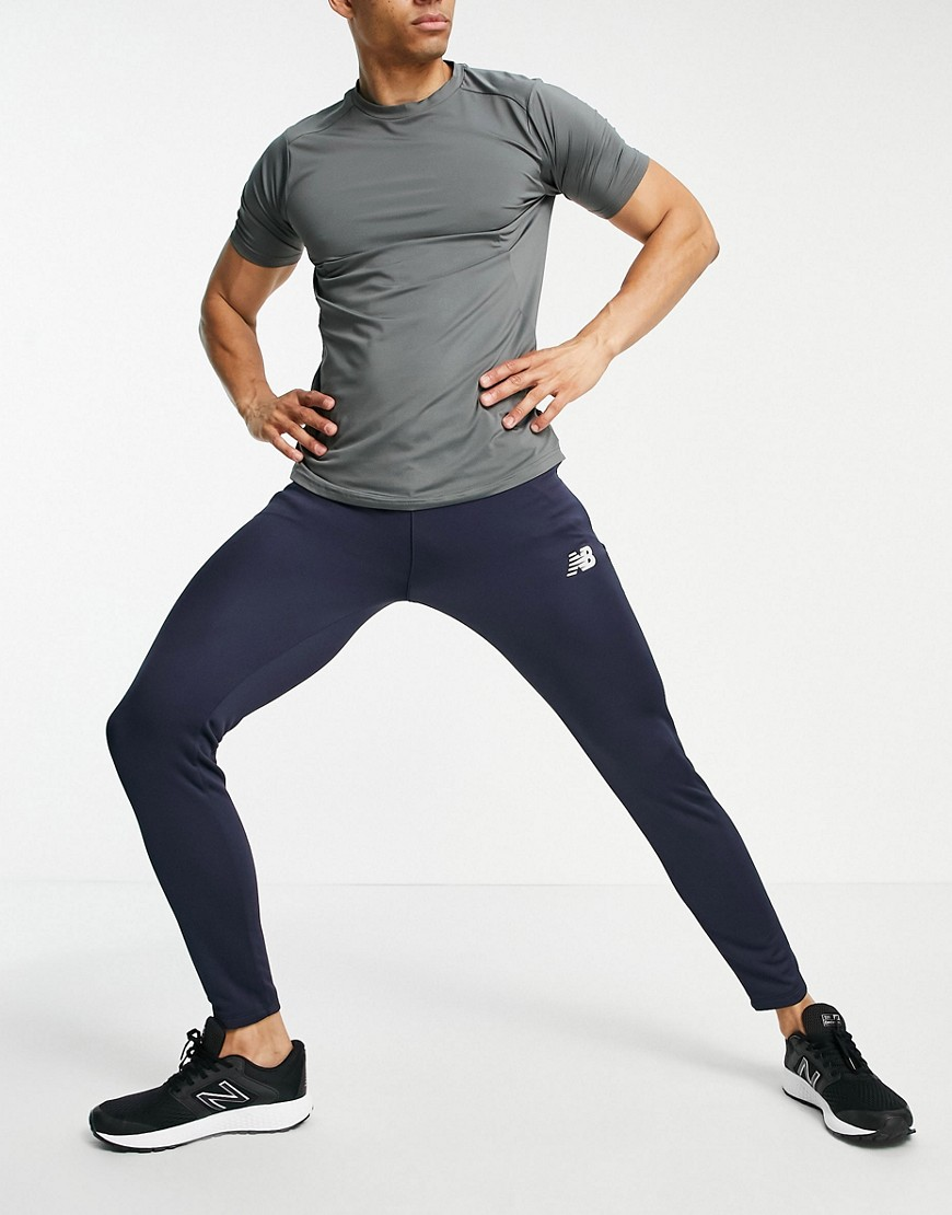 New Balance Football slim fit knitted joggers in navy-Black