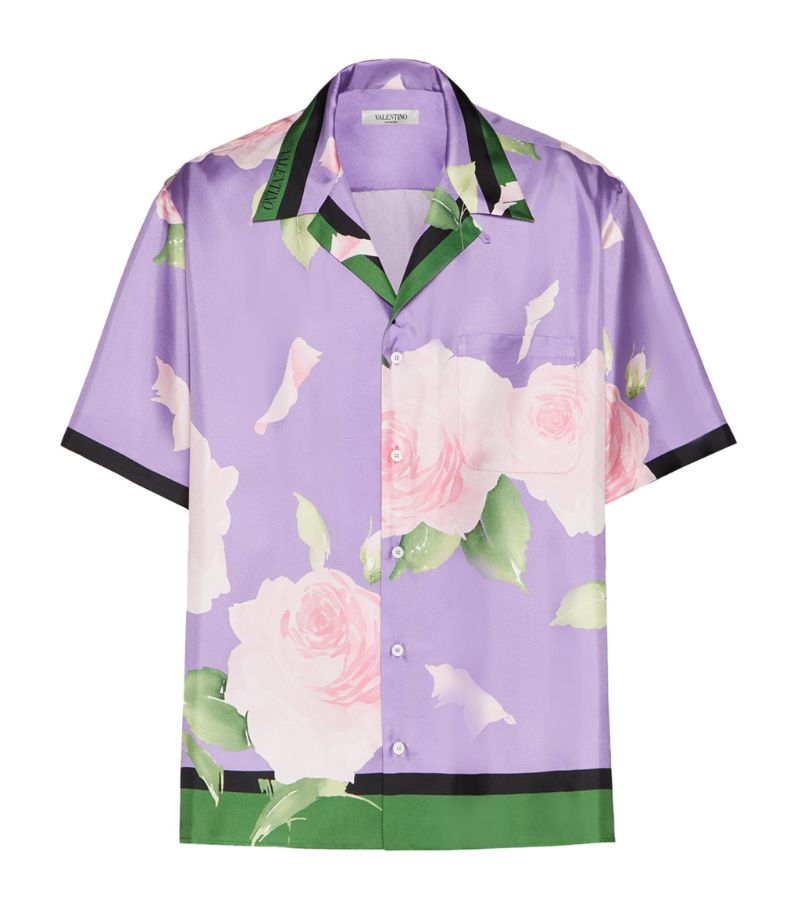 Valentino Silk Flying Flowers Bowling Shirt