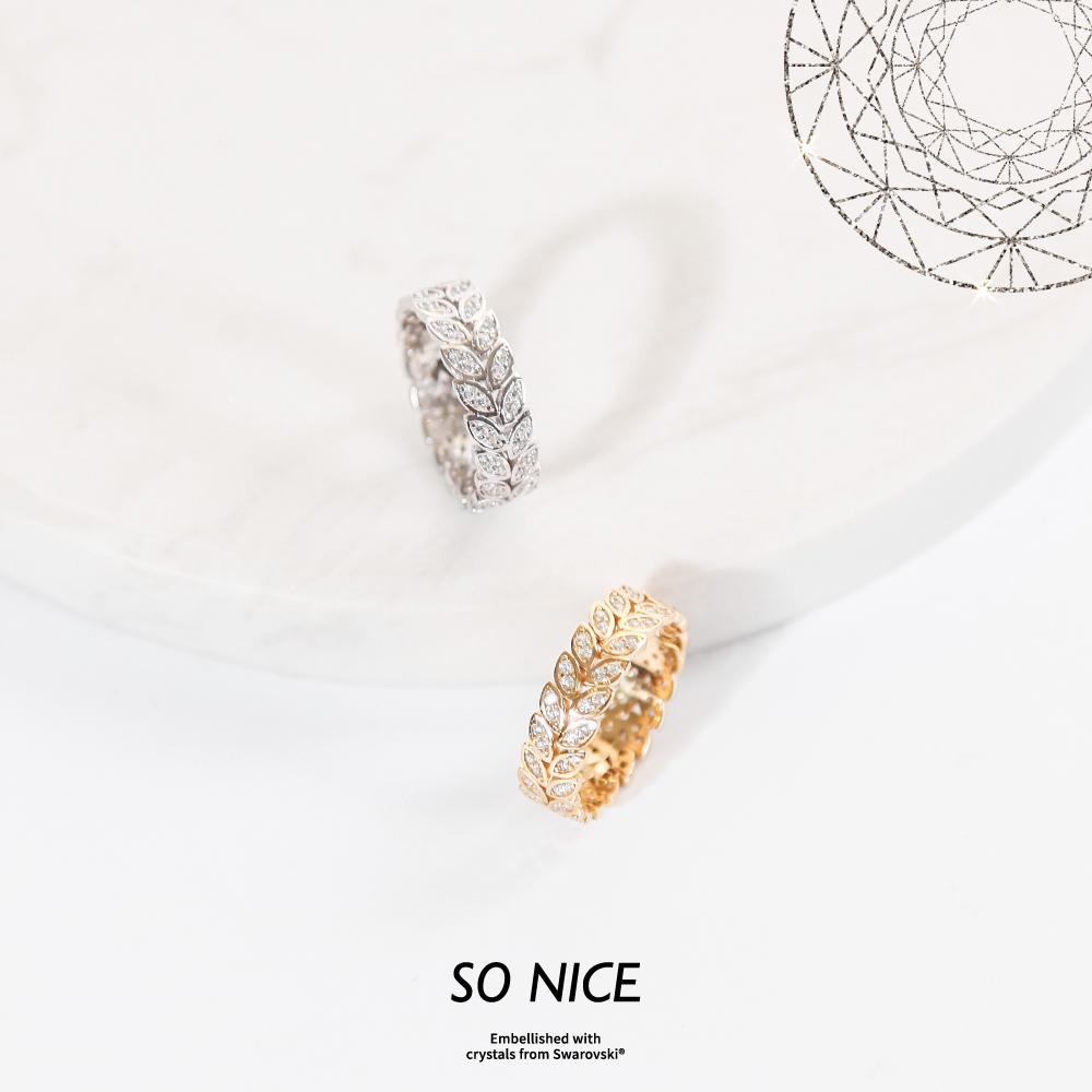 SO NICE施華洛世奇系列 | 月桂葉純銀戒指