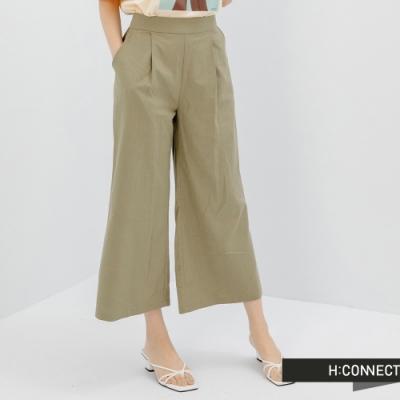H:CONNECT 韓國品牌 女裝 -俐落打摺設計高腰寬褲-藍綠色