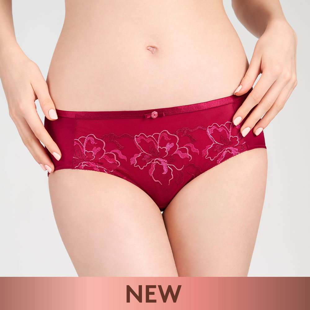 【新品優惠中】黛安芬-瑰麗水感動系列 超細纖維中腰平口內褲 M-EL 魅力紅|87-2179 ZK