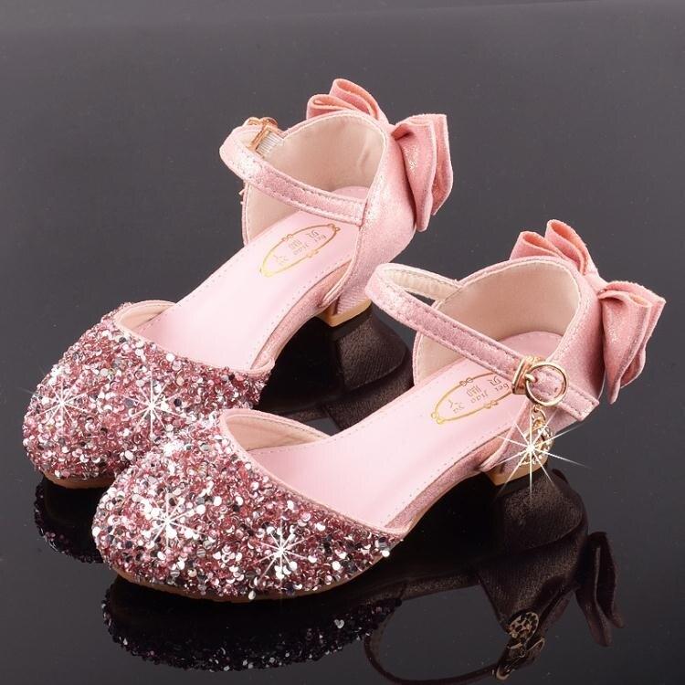 女童高跟公主鞋模特走秀演出皮鞋銀色配兒童禮服裙閃亮舞臺水晶鞋 摩可美家