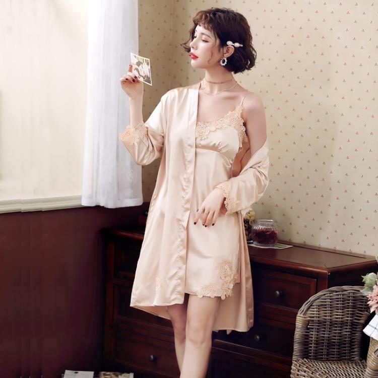短袖睡衣 2021年新款春秋冰絲吊帶睡裙睡袍性感絲綢長袖睡衣女夏季薄款兩件 果果輕時尚