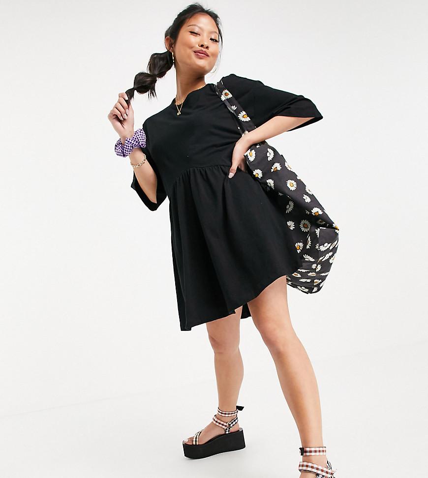 ASOS DESIGN Petite oversized mini smock dress with dropped waist in black