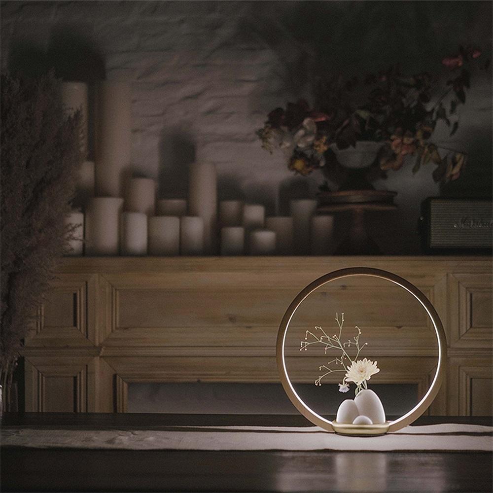 FOOKOO 一抹光景 LED檯燈 - 原木款 - 胡桃木 - 四葉瓶