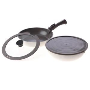 HOLA 可拆式陶瓷不沾導磁煎炒鍋5件組 白色款