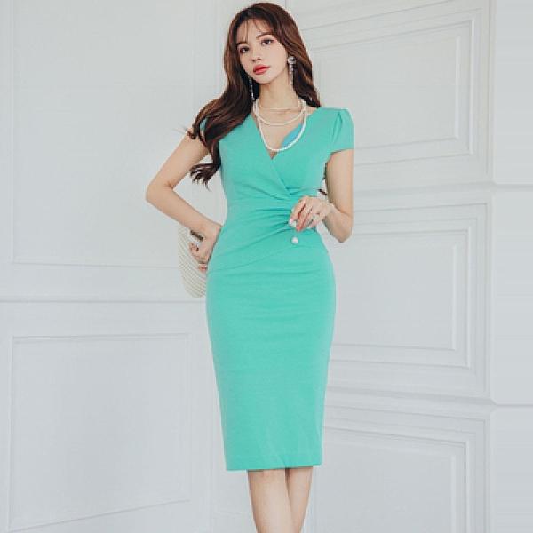 洋裝OL連身裙S-XL0105#夏裝韓版名媛氣質V領時尚收腰釘珠修身包臀連身裙女NE49快時尚