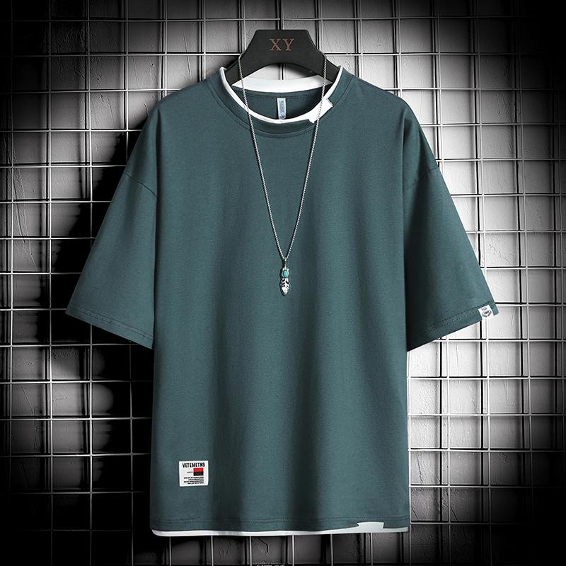 日系破邊缺口假兩件短袖t恤 / 寬鬆落肩 / oversize / 男女可穿 / M到4XL【QTJXTC305】