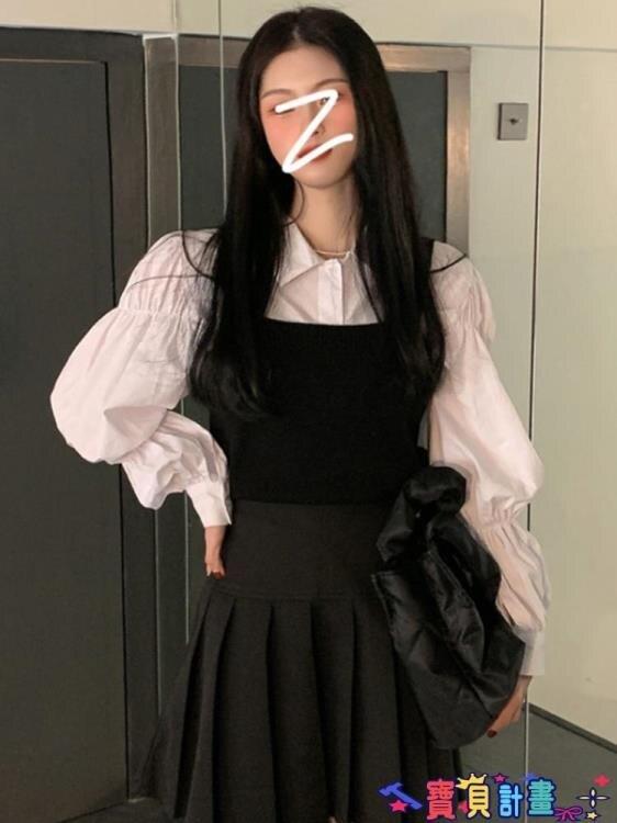 泡泡袖上衣 白色法式泡泡袖襯衫女2021年春季韓版內搭設計感小眾襯衣打底上衣 摩可美家