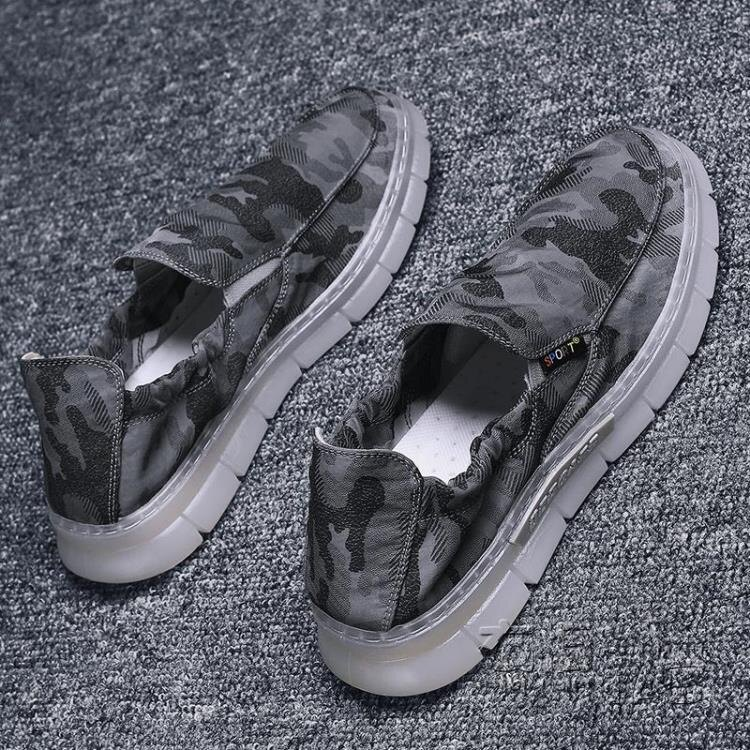 男鞋帆布鞋子老北京布鞋夏季透氣輕便懶人鞋一腳蹬開車休閒鞋軟底