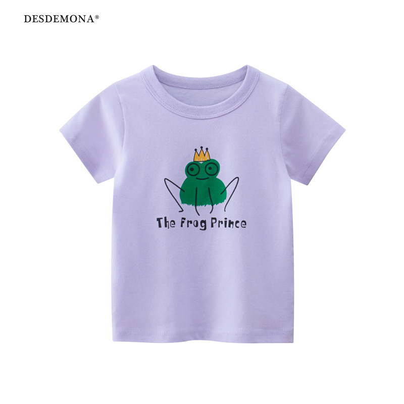 品牌童裝 韓版童裝批發2021夏季新款女童短袖T恤 寶寶衣服 純棉卡通動物短袖上衣