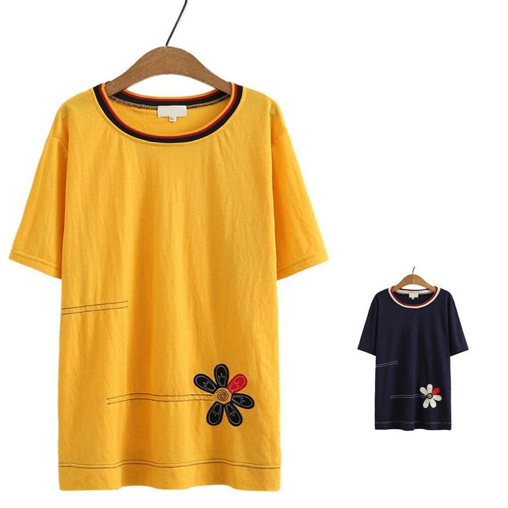 *ORead*日系森女圓領棉麻繡花花短袖T恤上衣(2色L~XL)