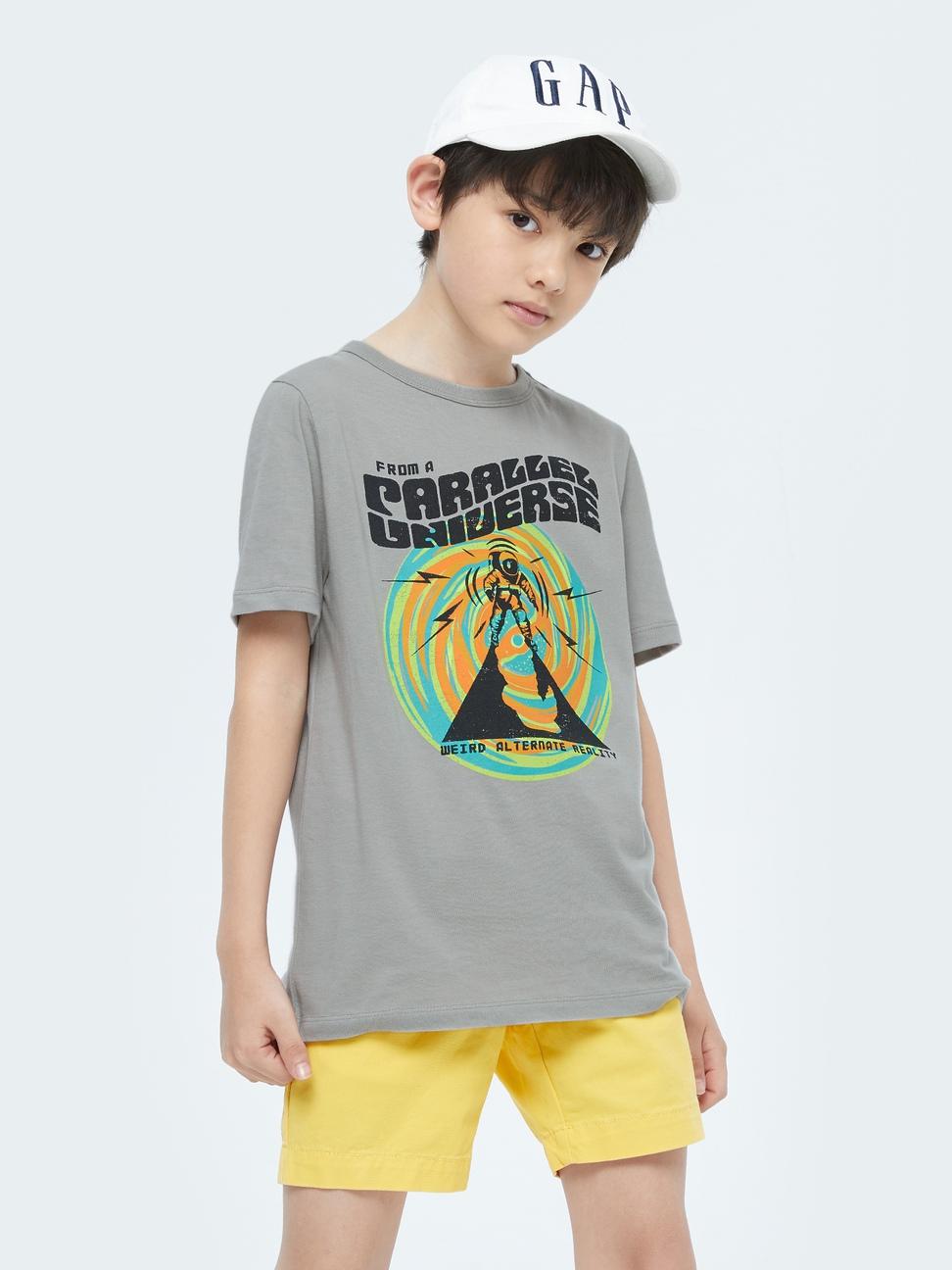 男童 潮酷純棉印花短袖T恤