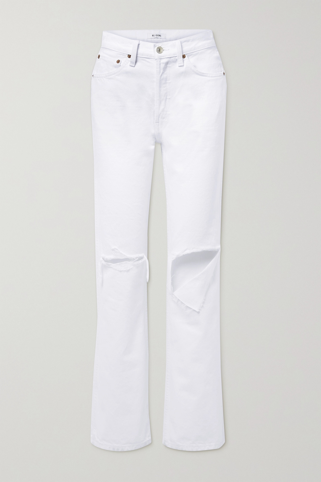 RE/DONE - 90s Distressed High-rise Straight-leg Jeans - White - 26