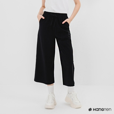 Hang Ten-女裝-WIDE LEG FIT鬆緊腰頭竹節紋九分褲-深藍色