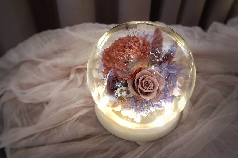 康乃馨 永生花 玻璃燈罩 母親節禮物