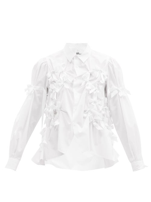 Noir Kei Ninomiya - Bow-trim Cotton-poplin Shirt - Womens - White