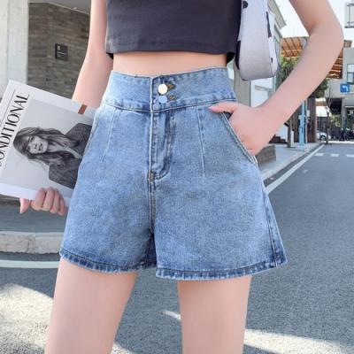 雙扭扣時尚百搭高腰牛仔短褲S-XL-WHATDAY