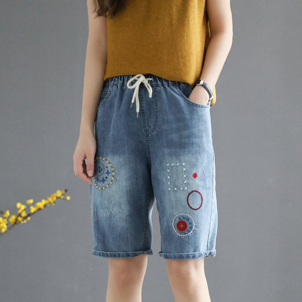 *ORead*花朵刺繡繫帶鬆緊腰牛仔五分褲(藍色M~XL)