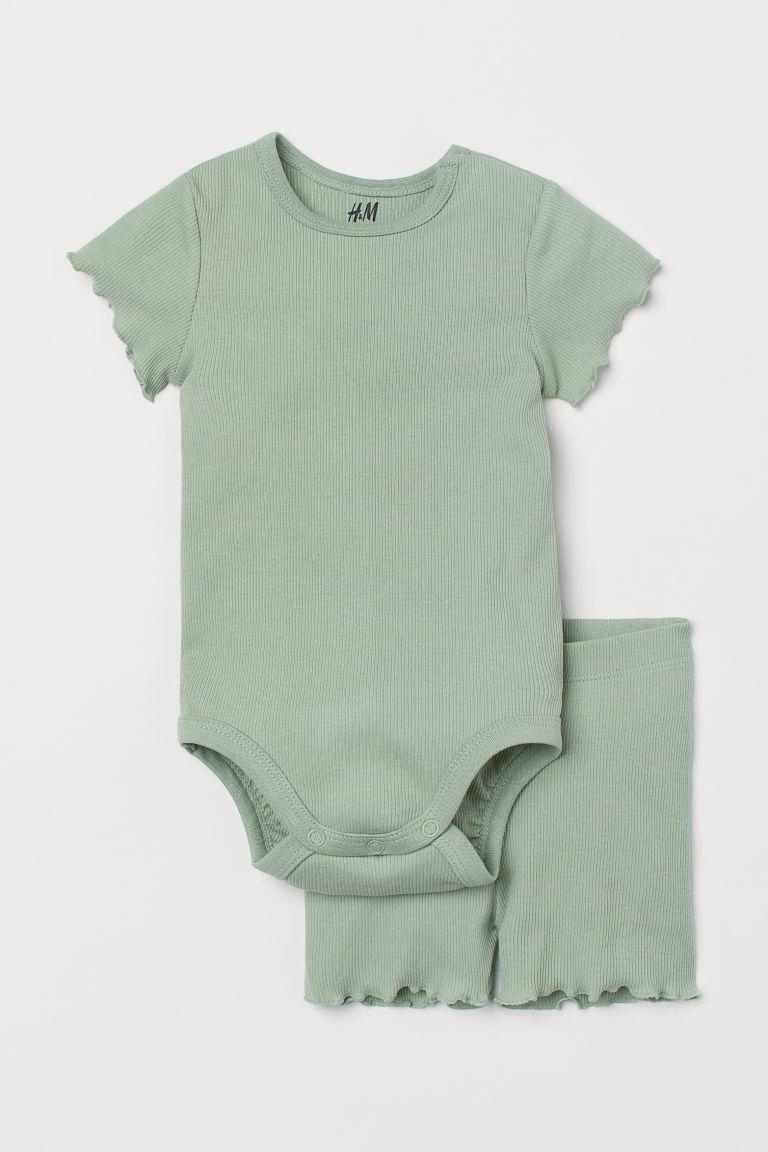H & M - 羅紋棉質套裝 - 綠色