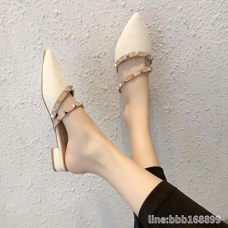 穆勒鞋 包頭半拖鞋女外穿新款鉚釘涼拖女夏時尚細高跟百搭網紅穆勒拖 摩可美家