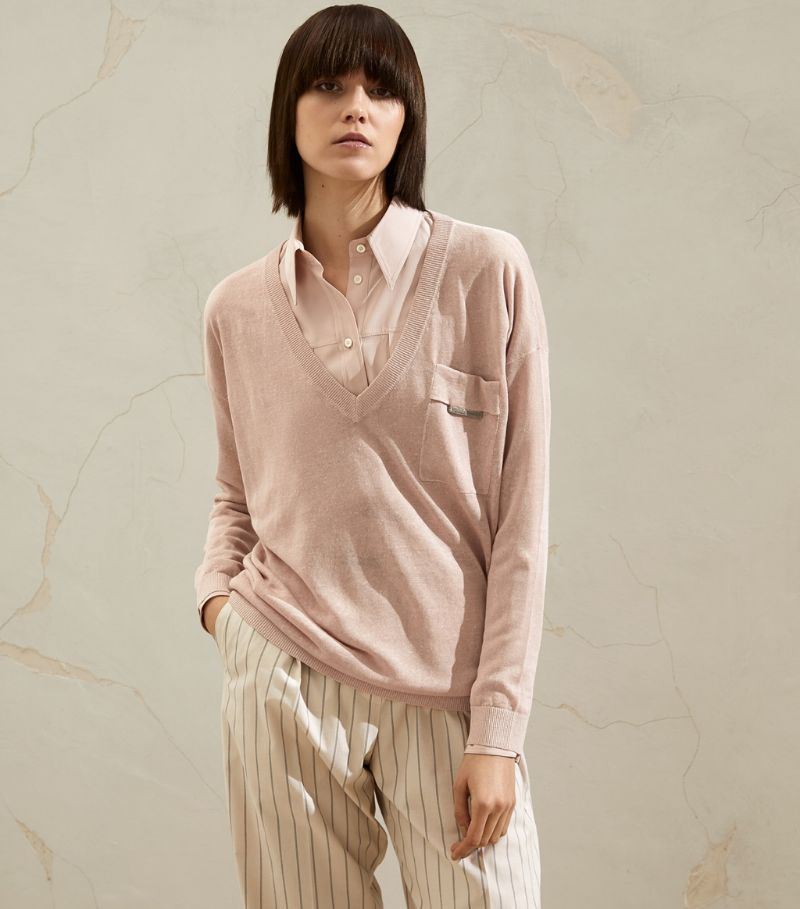 Brunello Cucinelli Linen-Blend Fine-Knit Sweater
