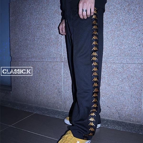【現貨秒寄】Kappa 222 Banda 黑色 金邊 長褲 串標 金LOGO 直筒 運動 休閒 KIFP452MN-BLK