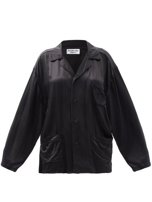 Balenciaga - Oversized Patch-pocket Silk-satin Shirt - Womens - Black