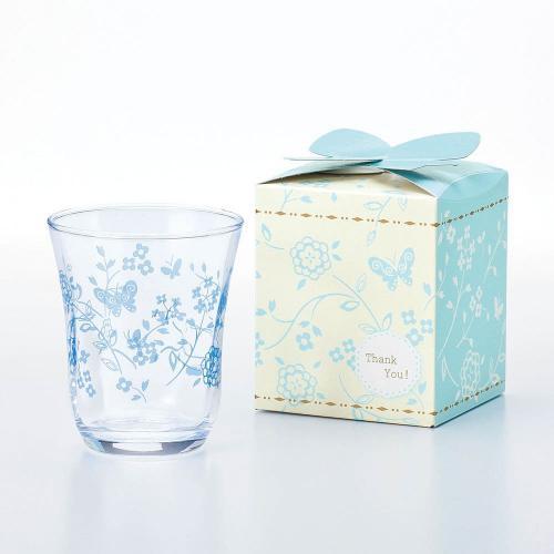 【日本TOYO-SASAKI】 花蝶水杯禮盒 230ml - 藍《泡泡生活》酒杯 酒器 酒具 玻璃杯