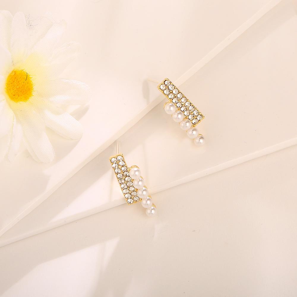 [韓國流行耳環]成熟魅力排鑽珍珠耳環 ER00068