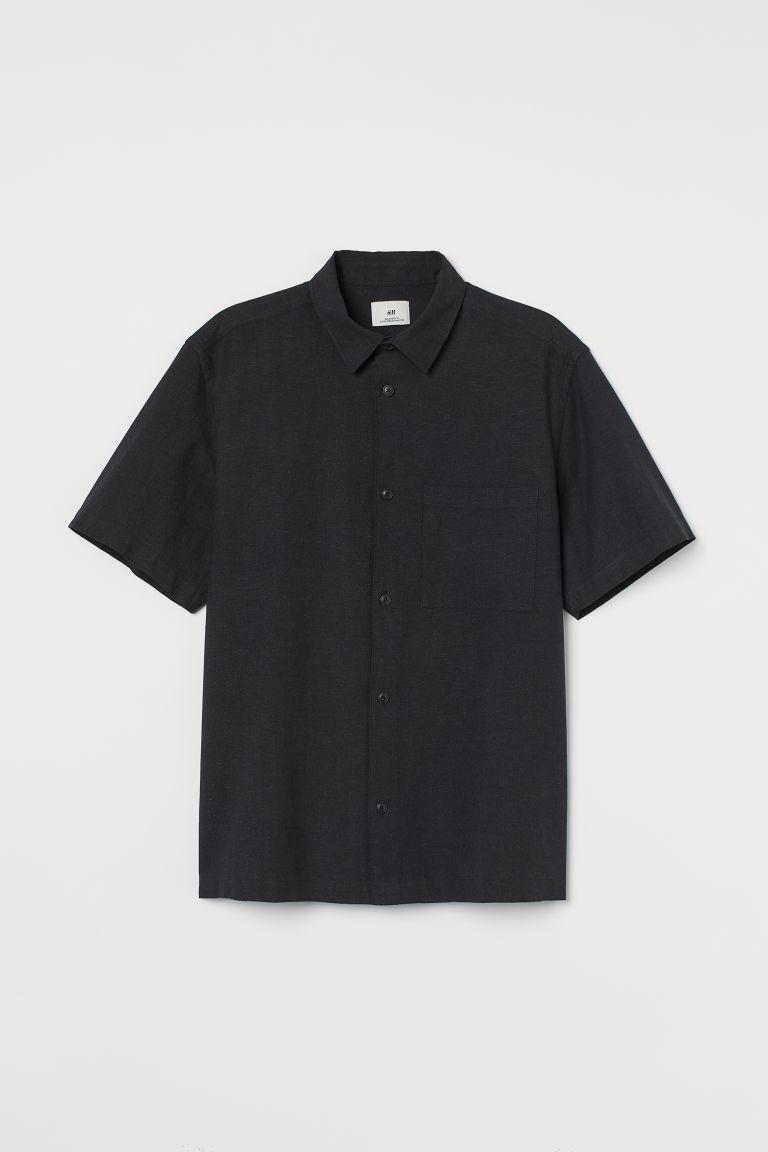 H & M - 休閒剪裁亞麻混紡襯衫 - 黑色