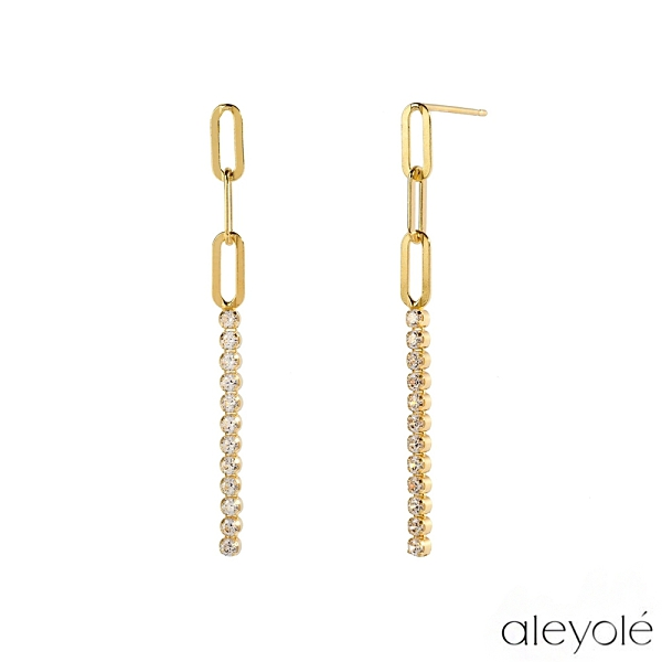 【Aleyolé】西班牙時尚 NARA GOLD 層次排鑽925純銀鍍18K金耳環