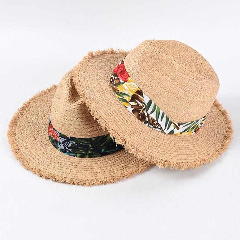 印花毛邊拉菲草帽 男女紳士草帽 爵士帽 沙灘帽 出遊渡假帽