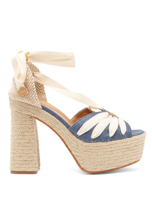 Castañer - Aroa 130 Daisy-embroidered Linen Platform Sandals - Womens - Blue Multi