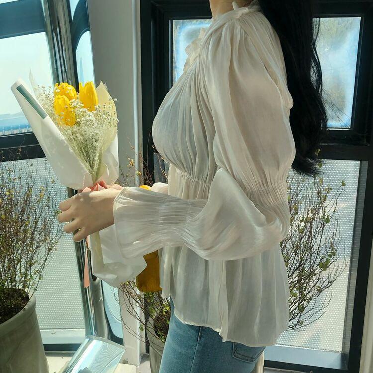 韓版木耳花邊喇叭袖純色收腰亮面褶皺雪紡衫上衣VINA扉娜【購】TOP200375