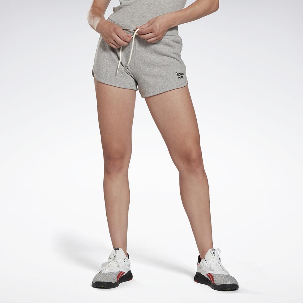 【領券最高折$300】Reebok IDENTITY 女裝 短褲 慢跑 訓練 拉繩 毛巾布 灰【運動世界】GI6594