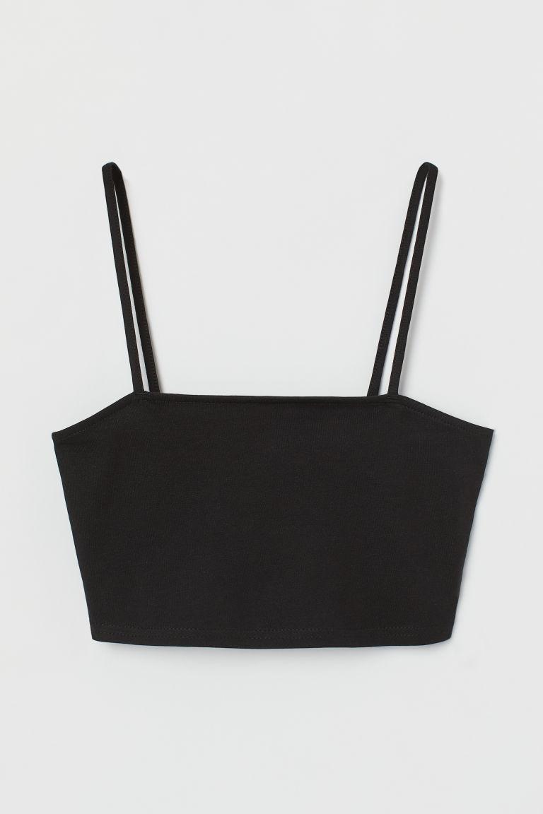 H & M - 短版平紋上衣 - 黑色