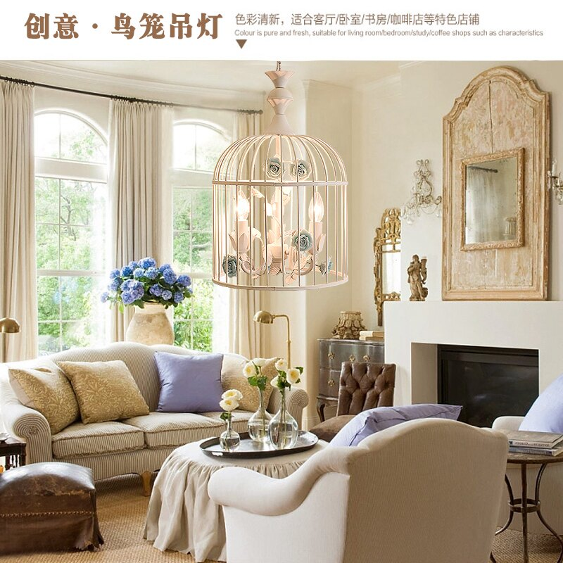 新款鐵藝鳥籠吊燈白色田園風格創意餐廳復式樓梯間飯廳服裝店吊燈