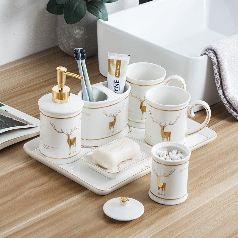 洗漱套裝輕奢家用衛生間歐式陶瓷衛浴五件套漱口杯牙刷杯組合家庭