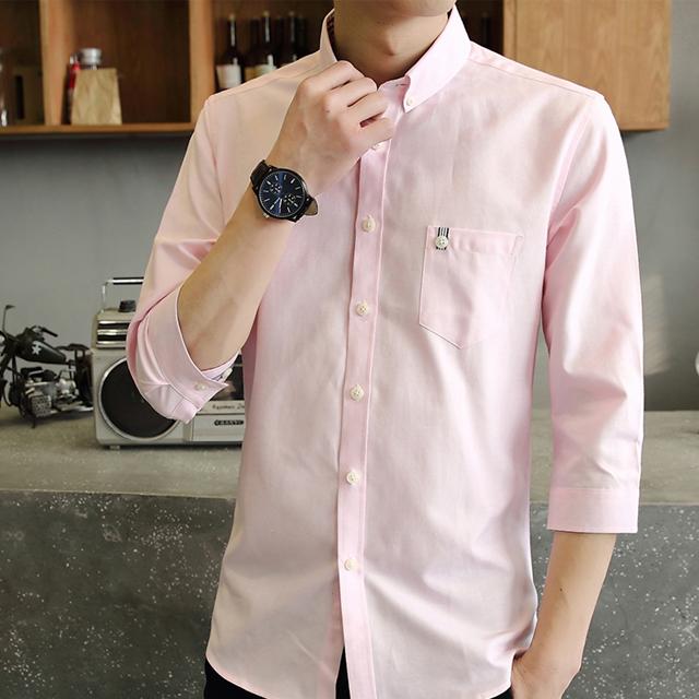 型男必備單品 修身版 條紋織帶造型七分袖襯衫 韓版 白 粉 灰 深藍 淺藍【QTJSY17011】