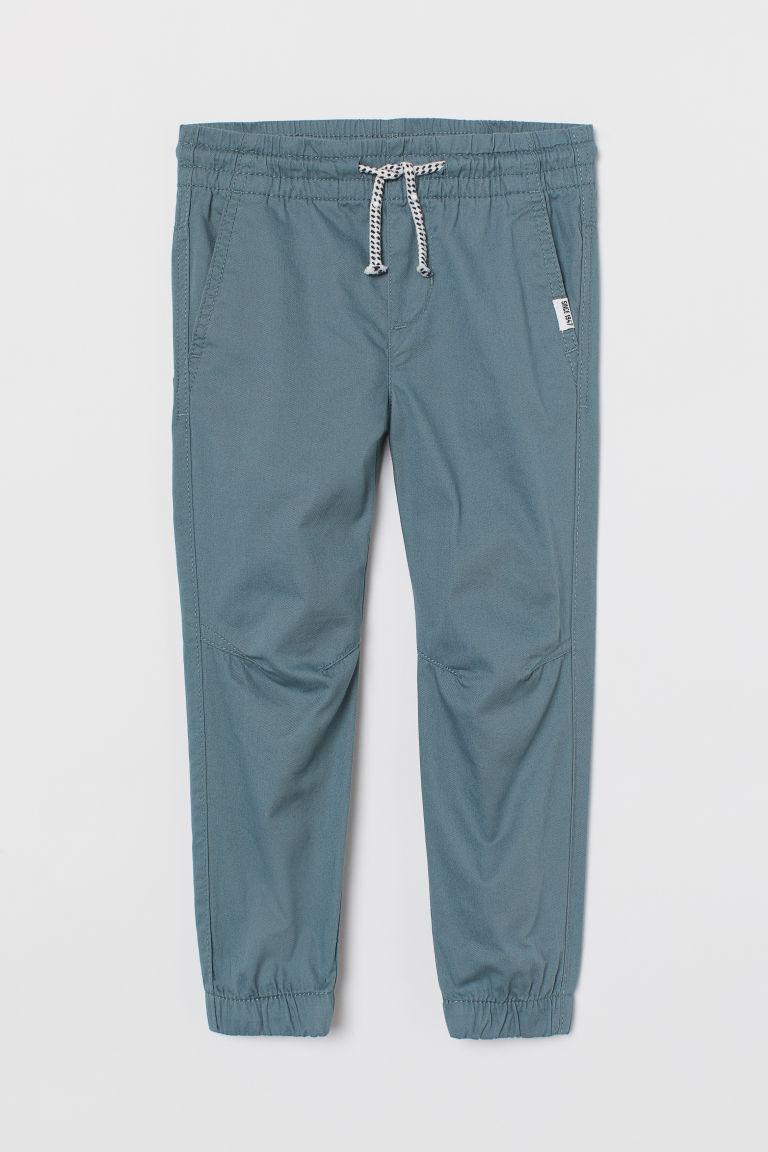 H & M - 斜紋鬆緊式長褲 - 藍綠色