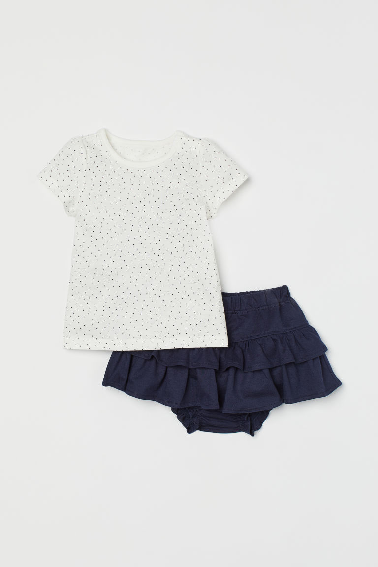 H & M - 棉質2件組套裝 - 藍色