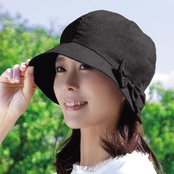 遮陽帽 小顏效果 抗UV 涼感降溫 可調整 日本同步 黑色